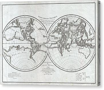 1779 Pallas And Mentelle Map Of The Physical World  Canvas Print by Paul Fearn