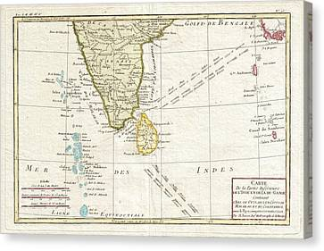 1780 Bonne Map Of Southern India Ceylon And The Maldives Canvas Print by Paul Fearn