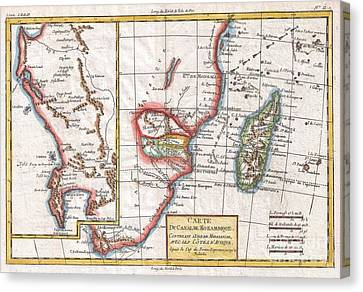 1780 Raynal And Bonne Map Of South Africa Zimbabwe Madagascar And Mozambique Canvas Print by Paul Fearn