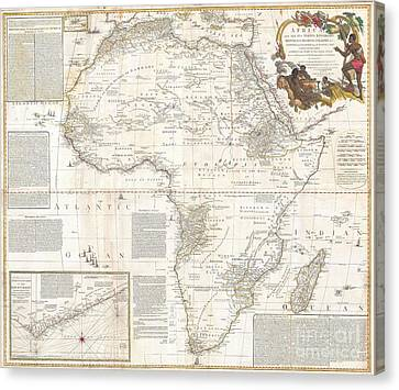 1787 Boulton  Sayer Wall Map Of Africa Canvas Print by Paul Fearn