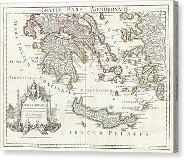 1794 Delisle Map Of Southern Ancient Greece Greeks Isles And Crete Canvas Print by Paul Fearn