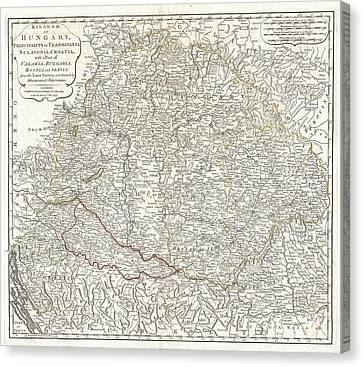 1794 Laurie And Whittle Map Of Hungary And Transylvania  Canvas Print by Paul Fearn