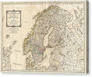 1794 Laurie And Whittle Map Of Norway Sweden Denmark And Finland Canvas Print by Paul Fearn