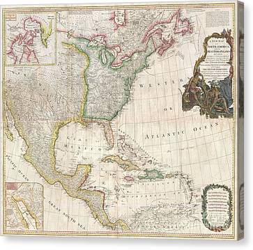1794 Pownell Wall Map Of North America And The West Indies Canvas Print by Paul Fearn
