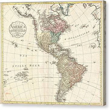 1796 Mannert Map Of North America And South America Canvas Print by Paul Fearn