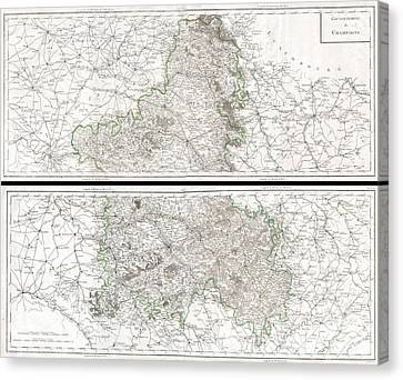 1797 Tardieu Map Of Champagne France Canvas Print by Paul Fearn