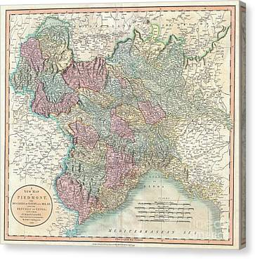 1799 Cary Map Of Piedmont Italy  Milan Genoa  Canvas Print by Paul Fearn