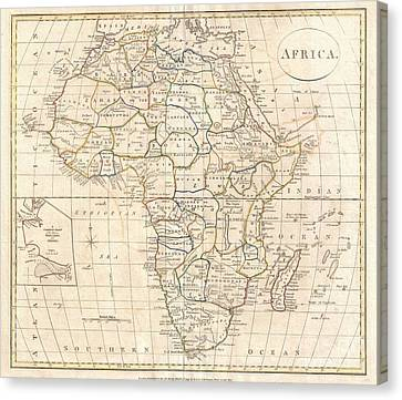 1799 Clement Cruttwell Map Of Africa  Canvas Print by Paul Fearn