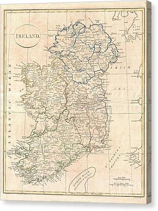 1799 Clement Cruttwell Map Of Ireland Canvas Print by Paul Fearn