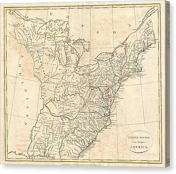 1799 Cruttwell Map Of The United States Of America Canvas Print by Paul Fearn