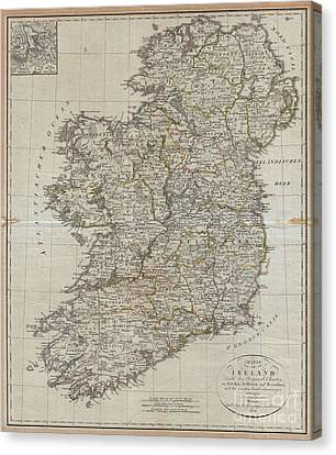 1804 Jeffreys And Kitchin Map Of Ireland Canvas Print by Paul Fearn