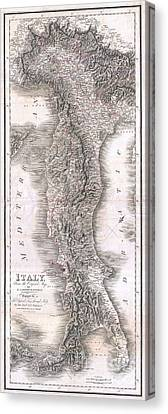 1814 Rizzi Zannoni Map Of Italy Canvas Print by Paul Fearn