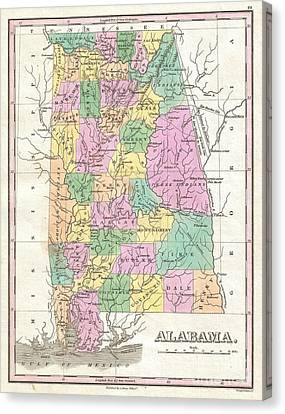 1827 Finley Map Of Alabama Canvas Print by Paul Fearn