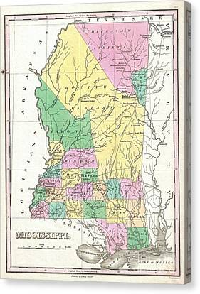 1827 Finley Map Of Mississippi Canvas Print by Paul Fearn