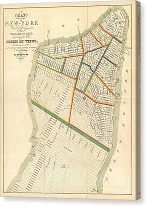 1831 Hooker Map Of New York City Canvas Print by Paul Fearn