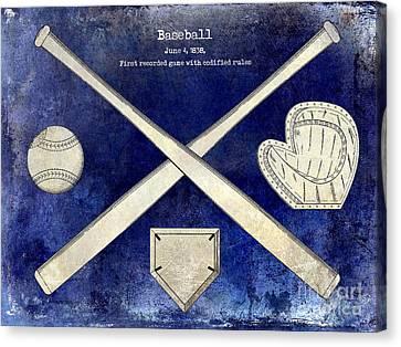 1838 Baseball Drawing 2 Tone Blue Canvas Print by Jon Neidert