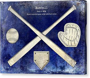 1838 Baseball Drawing 2 Tone Blue Canvas Print by Jon Neidert