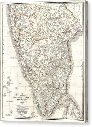 1838 Wyld Wall Map Of India Canvas Print by Paul Fearn