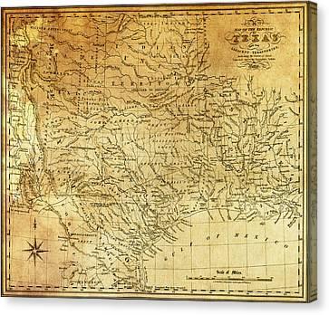 1841 Republic Of Texas Map Canvas Print by Daniel Hagerman