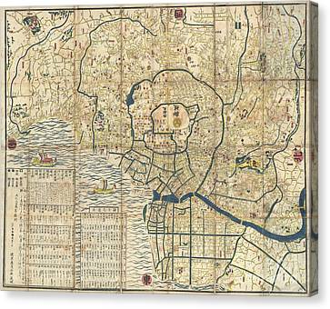1849 Japanese Map Of Edo Or Tokyo Canvas Print by Paul Fearn