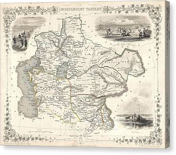 1851 Asia Map Canvas Print by Dan Sproul