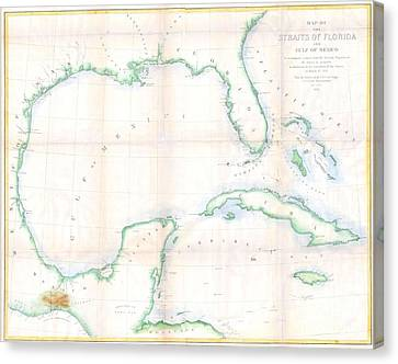 1852 Andrews Map Of Florida Cuba And The Gulf Of Mexico Canvas Print by Paul Fearn