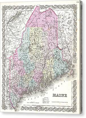 1855 Colton Map Of Maine Canvas Print by Paul Fearn