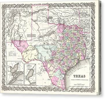 1855 Colton Map Of Texas Canvas Print by Paul Fearn