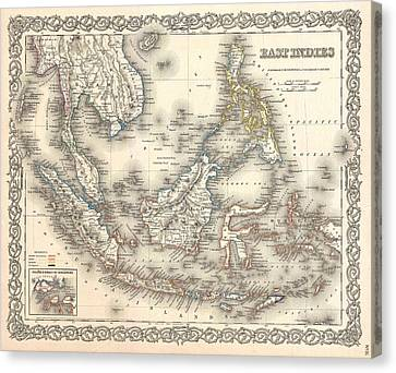 1855 Colton Map Of The East Indies Singapore Thailand Borneo Malaysia Canvas Print by Paul Fearn