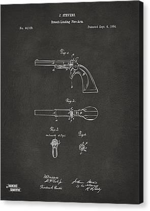1864 Breech Loading Pistol Patent Artwork - Gray Canvas Print by Nikki Marie Smith