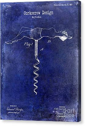 1864 Nude Corkscrew Patent Drawing Blue Canvas Print by Jon Neidert