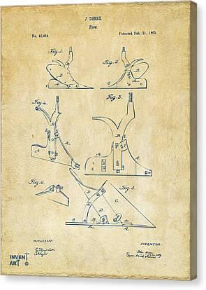 1865 John Deere Plow Patent Vintage Canvas Print by Nikki Marie Smith
