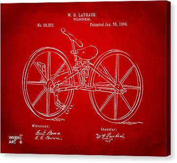 1869 Velocipede Bicycle Patent Artwork Red Canvas Print by Nikki Marie Smith