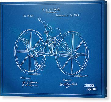 1869 Velocipede Bicycle Patent Blueprint Canvas Print by Nikki Marie Smith