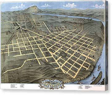 1871 Birds Eye Map Of Chattanooga Canvas Print by Stephen Stookey