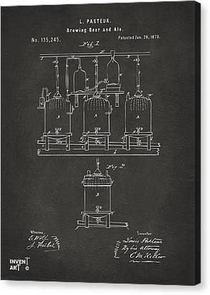 1873 Brewing Beer And Ale Patent Artwork - Gray Canvas Print by Nikki Marie Smith