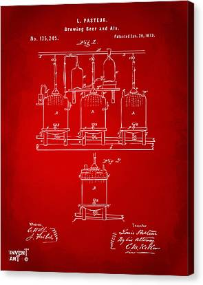 1873 Brewing Beer And Ale Patent Artwork - Red Canvas Print by Nikki Marie Smith