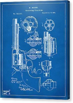 1875 Colt Peacemaker Revolver Patent Blueprint Canvas Print by Nikki Marie Smith