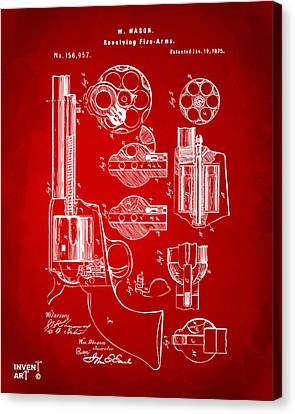 1875 Colt Peacemaker Revolver Patent Red Canvas Print by Nikki Marie Smith
