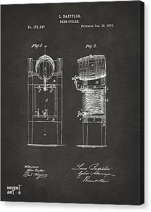 1876 Beer Keg Cooler Patent Artwork - Gray Canvas Print by Nikki Marie Smith
