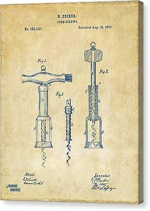 1876 Wine Corkscrews Patent Artwork - Vintage Canvas Print by Nikki Marie Smith
