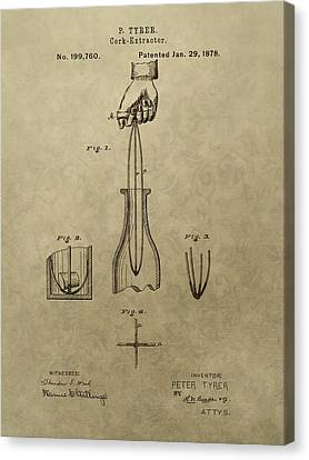 1878 Cork Extractor Patent Canvas Print by Dan Sproul