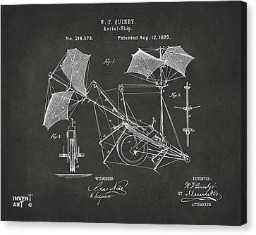 1879 Quinby Aerial Ship Patent - Gray Canvas Print by Nikki Marie Smith