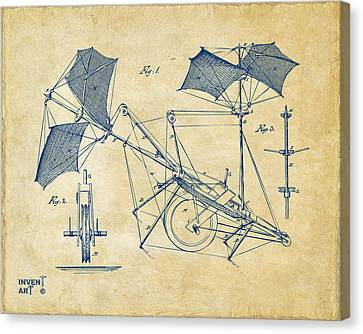 1879 Quinby Aerial Ship Patent Minimal - Vintage Canvas Print by Nikki Marie Smith