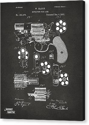 1881 Colt Revolving Fire Arm Patent Artwork - Gray Canvas Print by Nikki Marie Smith