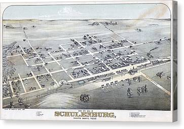 1881 Vintage Map Of Schulenburg Texas Canvas Print by Stephen Stookey