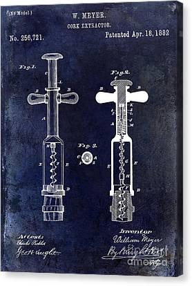 1882 Corkscrew Patent Drawing Canvas Print by Jon Neidert