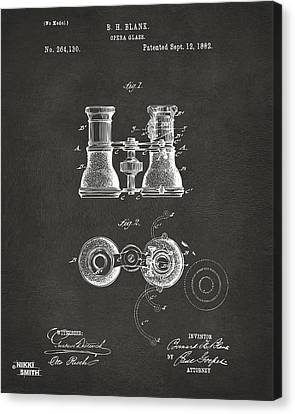 1882 Opera Glass Patent Artwork - Gray Canvas Print by Nikki Marie Smith