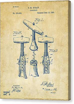 1883 Wine Corckscrew Patent Artwork - Vintage Canvas Print by Nikki Marie Smith