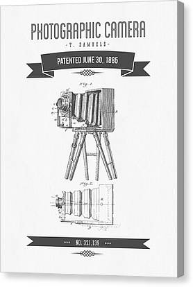 1885 Photographic Camera Patent Drawing - Retro Gray Canvas Print by Aged Pixel
